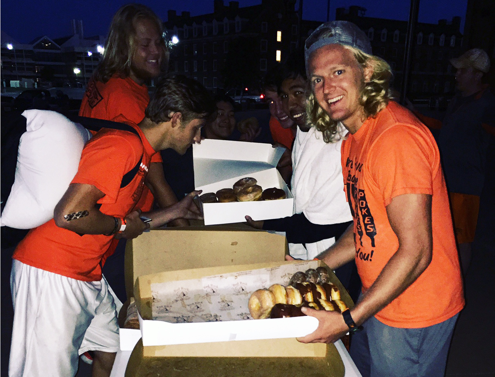 Camper Dylan Rowan gets donuts at a Rowdy campout.